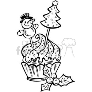 cupcake with Christmas decorations clipart. Commercial use image # 381098