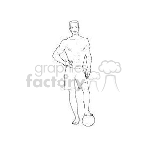 man standing with one foot on a volleyball