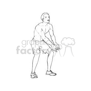 black and white image of a guy playing volleyball clipart. Commercial use image # 381202