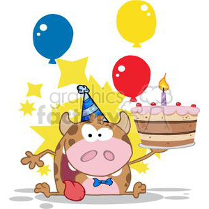 Happy-Calf-Cartoon-Character-Holds-Birthday-Cake-With-Baloons-And-Stars clipart. Royalty-free image # 381240