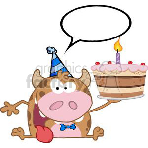 3797-Happy-Calf-Cartoon-Character-Holds-Birthday-Cake clipart. Royalty-free image # 381245