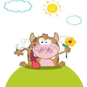 3795-Happy-Calf-Cartoon-Character-With-Flower