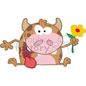 Happy-Calf-Cartoon-Character-With-Flower clipart. Royalty-free image # 381265
