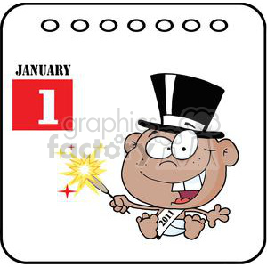 African-American-New-Year-Baby-Cartoon-Callendar clipart. Commercial use image # 381285