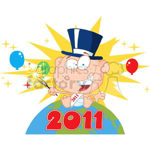 3829-New-Year-Baby-With-Fireworks-And-Balloons-Above-The-Globe clipart. Royalty-free image # 381290