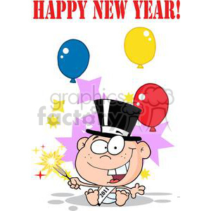 3739-New-Year-Baby-Cartoon-Callendar clipart. Commercial use image # 381300