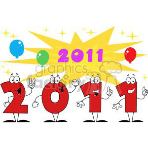 3819-2011-Year-Cartoon-Character-With-Stars-And-Balloons clipart. Commercial use image # 381305