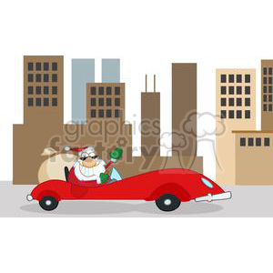 cartoon funny Christmas Xmas Holidays vector illustrations Santa Claus city