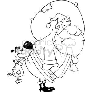 cartoon funny Christmas Xmas Holidays vector illustrations Santa Claus black white