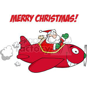 3713-Santa-Flying-With-Christmas-Plane clipart. Royalty-free image # 381335