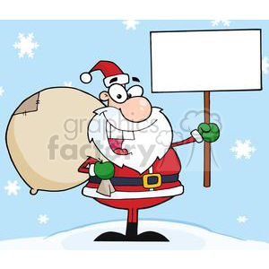3654-Jolly-Christmas-Santa-Holding-A-Blank-Sign clipart. Royalty-free image # 381345