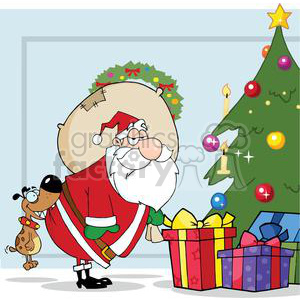 3863-Dog-Biting-A-Santa-Claus-Under-A-Christmas-Tree clipart. Royalty-free image # 381350