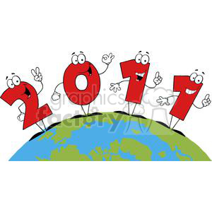 2011-Year-Cartoon-Character-In-The-Globe clipart. Commercial use image # 381355