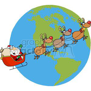 Santa-Waving-And-Flying-Above-Earth clipart. Royalty-free image # 381360