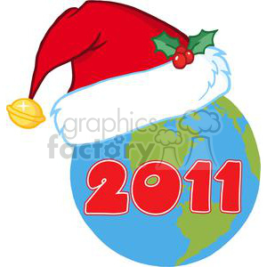 3840-Santa-Hat-On-A-Earth clipart. Royalty-free image # 381365