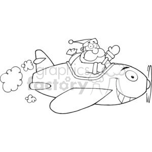 Outlined-Santa-Flying-With-Christmas-Plane clipart. Royalty-free image # 381370