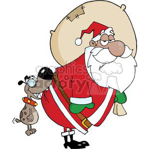 Dog-Biting-A-African-American-Santa-Claus clipart. Royalty-free image # 381375