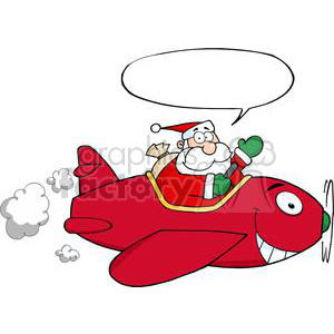 3711-Santa-Flying-With-Christmas-Plane clipart. Royalty-free image # 381380