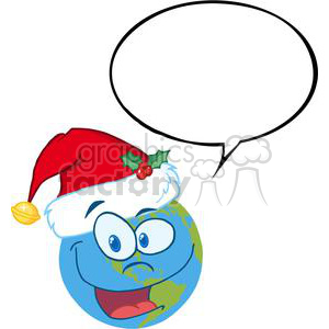 Santa-Hat-On-A-Earth-Cartoon-Character-With-Speech-Bubble clipart. Royalty-free image # 381385