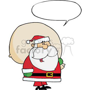 Santa-Claus-Carrying-A-Toy-Sack-With-Speech-Bubble clipart. Royalty-free image # 381390