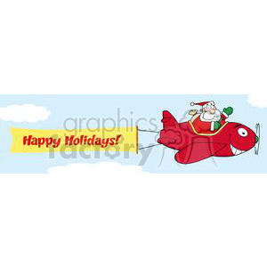 3811-Santa-Flying-With-Christmas-Plane-AndA-Blank-Banner-Attached clipart. Royalty-free image # 381395