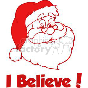 cartoon funny Christmas Xmas Holidays vector illustrations Santa+Claus red Believe head