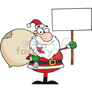 3653-Jolly-Christmas-Santa-Holding-A-Blank-Sign clipart. Royalty-free image # 381410