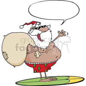African-American-Santa-Claus-Carrying-His-Sack-While-Surfing-With-Speech-Bubble clipart. Royalty-free image # 381415