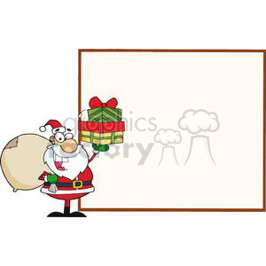 Jolly-Santa-Holding-A-Sack-Over-His-Shoulder-And-Gifts-Presenting-A-Blank-Sign-Board