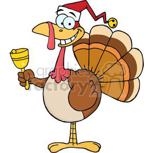 3649-Happy-Turkey-With-Santa-Hat clipart. Royalty-free image # 381445