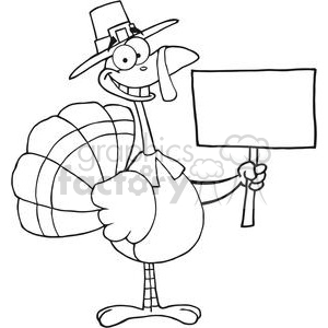 Happy-Turkey-With-Pilgrim-Hat-Holding-A-Blank-Sign clipart. Royalty-free image # 381450