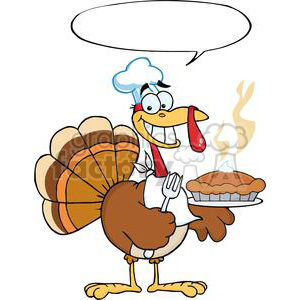 Happy-Turkey-Chef-With-Pie-And-Speech-Bubble clipart. Royalty-free image # 381460
