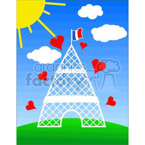 Eiffel Tower Paris Europe France architecture building buildings cartoon hearts heart