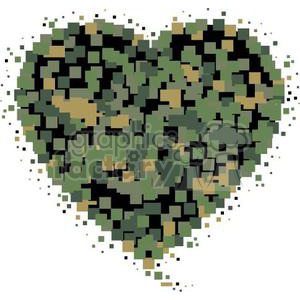 digital camo heart clipart. Commercial use image # 381670