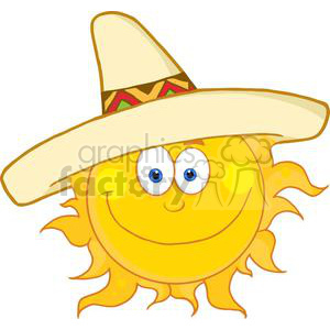 sun wearing a sombrero  clipart. Commercial use image # 381957