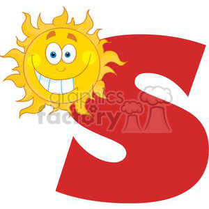 4049-Happy-Smiling-Sun-With-Letters-S animation. Royalty-free animation # 381972