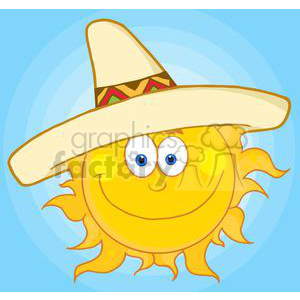 4059-Smiling-Sun-With-Sombrero-Hat clipart. Royalty-free image # 381977