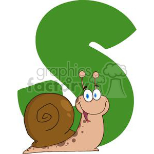 4093-Happy-Cartoon-Snail-With-Letters-S clipart. Royalty-free image # 381982