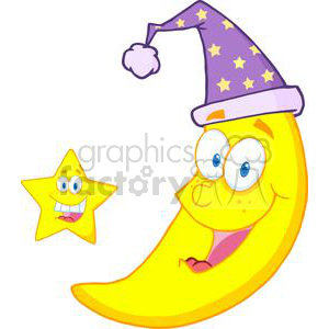 4083-Happy-Star-And-Moon-Mascot-Cartoon-Characters clipart. Commercial use image # 382007
