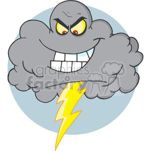 cartoon funny storm cloud clouds stormy thunder mean scary grey lightning