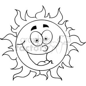 cartoon funny sun shunshine summer spring black white