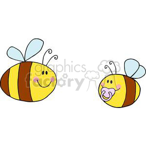 Mother Bee Flying With Baby Bee clipart. Commercial use image # 382032