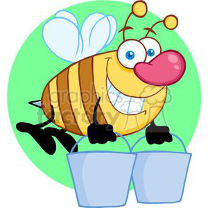 4106-Happy-Honey-Bee-Flying-With-A-Buckets clipart. Royalty-free image # 382052