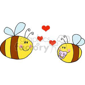 4124-Mother-Bee-Fflying-With-Baby-Bee-and-Red-Hearts clipart. Commercial use image # 382062