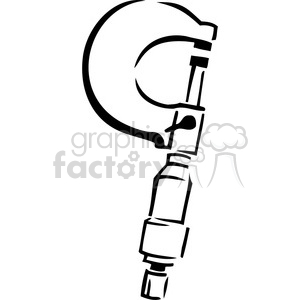 black and white cartoon caliper clipart. Commercial use image # 384985