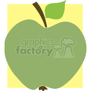 12917 RF Clipart Illustration Green Apple With Yellow Background clipart. Royalty-free image # 385055