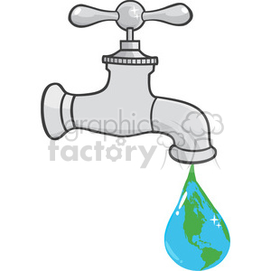12881 RF Clipart Illustration Leaking Faucet The Earth Planet Droplet clipart. Royalty-free image # 385065