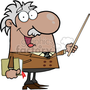 12830 RF Clipart Illustration African American Professor Holding A Pointer clipart. Commercial use image # 385075