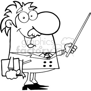 12828 RF Clipart Illustration Professor Holding A Pointer clipart. Royalty-free image # 385085