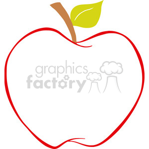 129212 RF Clipart Illustration Apple With Color Outline clipart. Royalty-free image # 385095